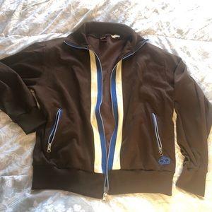Brown Cotton & Polyester Blend Zip Down Jacket